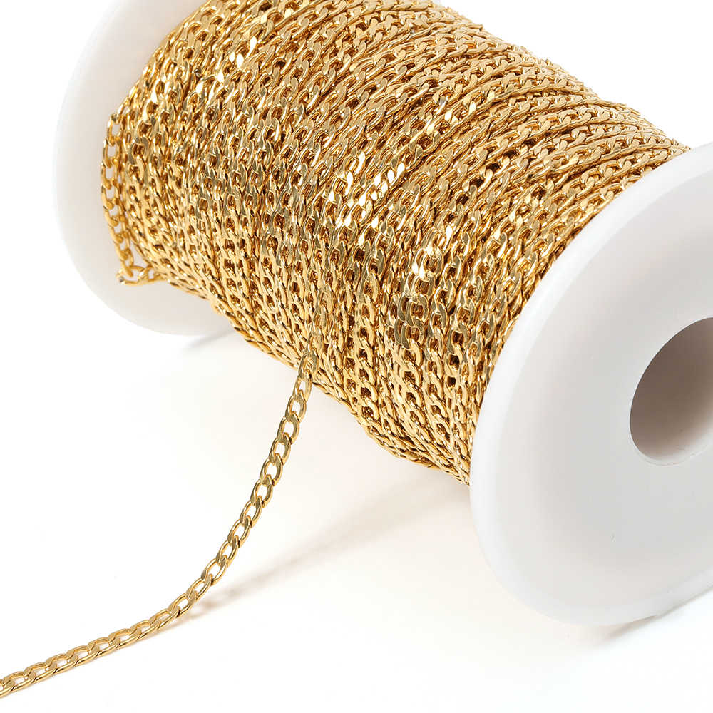 Stainless Steel Gold Chain 3mm Width Figaro Link Chain for DIY Necklace Bracelet