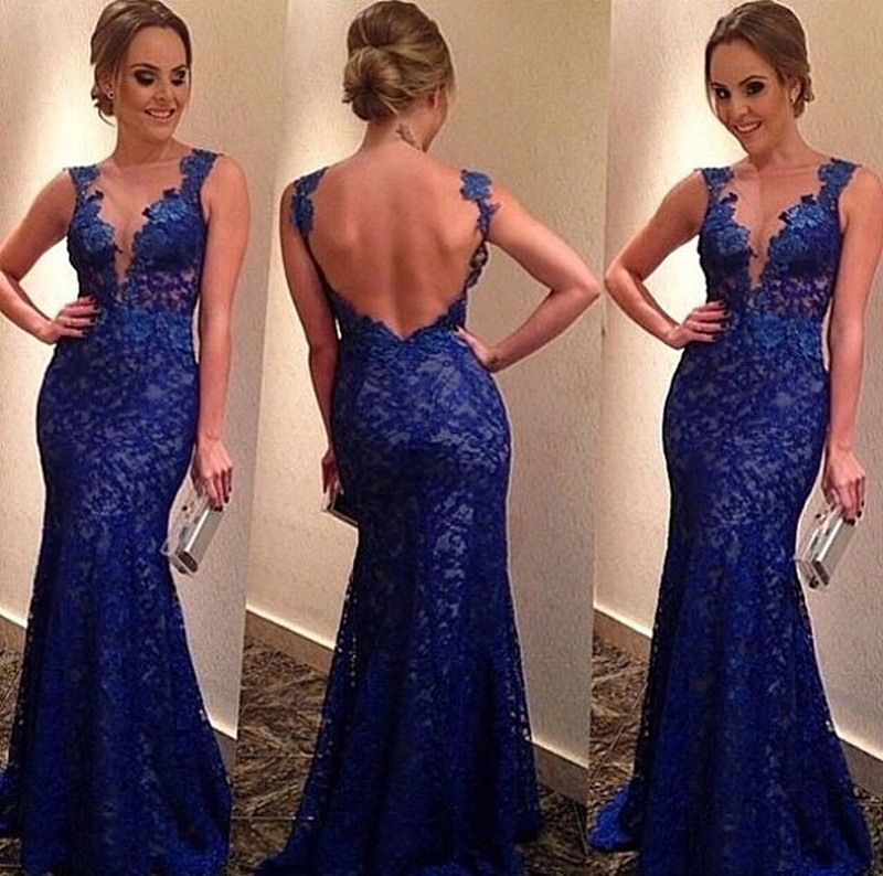 2018 New Arrival Elegant Royal Blue Long Sexy Deep V-Neck Backless Sleeveless Floor Length Lace Party Gown Bridesmaid Dresses