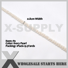 Trim Decorations-Hat for Dress DIY Sewing-Craft Supply Ribbon-Tape Beaded Pearl Thin