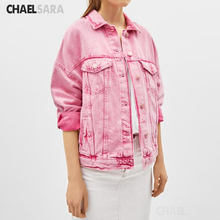 Spring Autumn Pink Denim Jacket Women Single Breasted Pockets Casual Loose Jeans