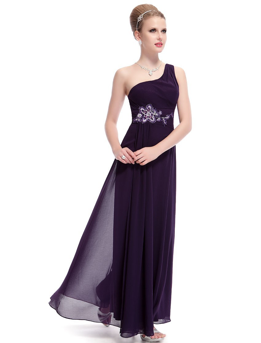 Free Shipping 2018 Women New Arrival Purple Elegant One Shoulder Maxi Long Cheap Sexy On Line Formal Gown Bridesmaid Dresses
