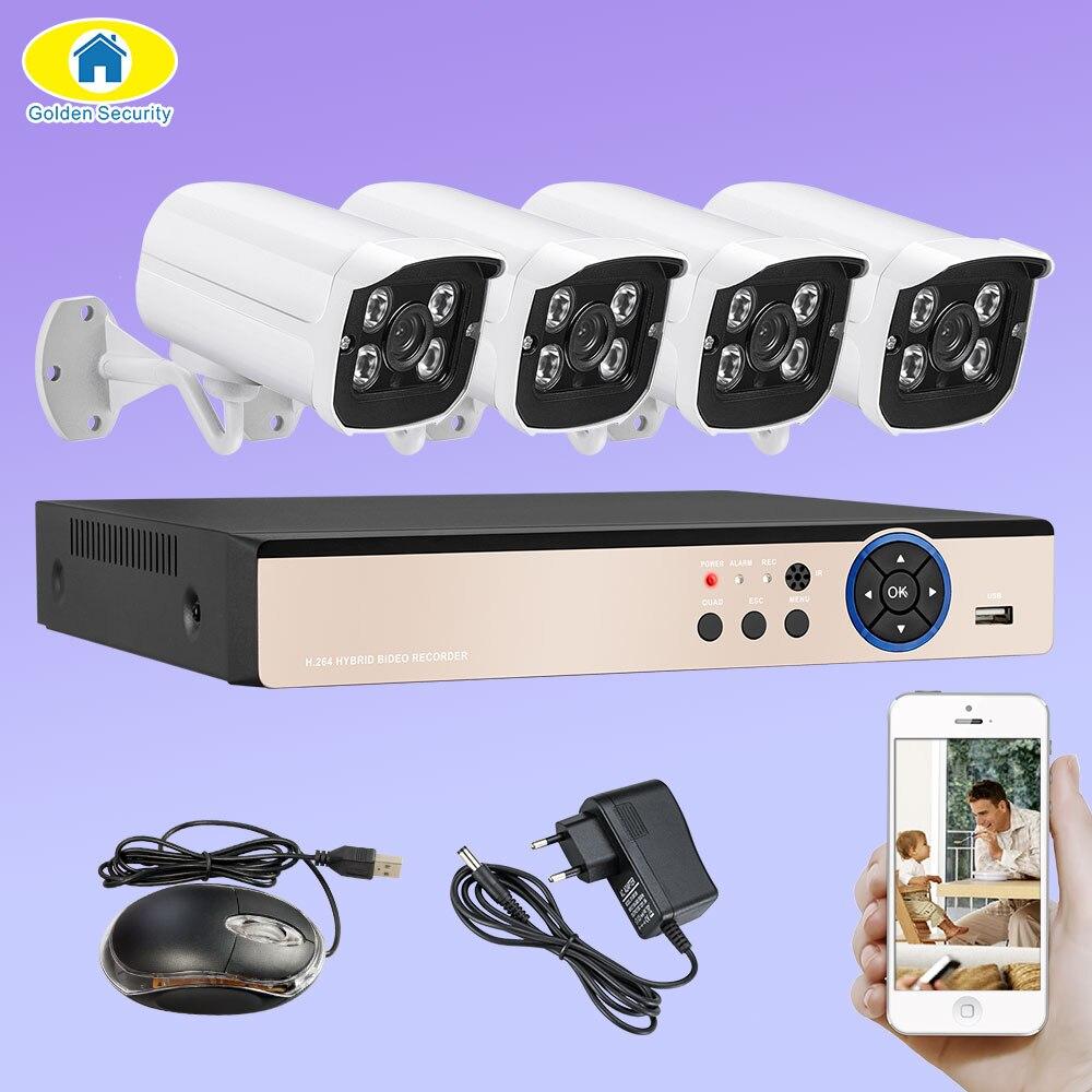Golden Security 4CH CCTV Camera System 4Pcs 1080P AHD DVR 3000TVL IR Night Vision Outdoor Security Camera CCTV Surveillance Kit