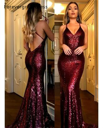 2019 Sequined Burgundy   Evening     Dress   New Arrival Mermaid Long Formal Holidays Wear Graduation Party Gown Custom Made