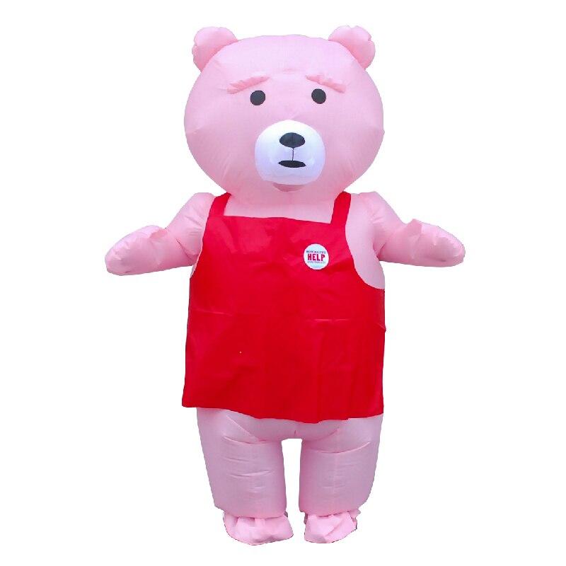 Cor-de-rosa urso inflável traje adulto feminino presente