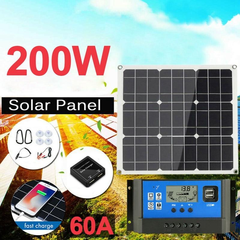 200 watt 200 w painel solar kit com lcd solar controlador 12v rv barco fora da