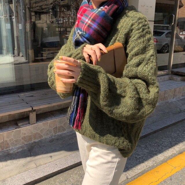 Фото новые женские свитера из мохера осень зима новые винтажные повседневные