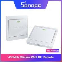 Itead sonoff rf 433 mhz sem fio 86 parede interruptor pegajoso controle remoto para sonoff t1 rf ponte 4ch pro r2 como 2 maneira controlada