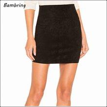 Черные осенние замшевые кожаные мини юбки карандаш простые зимние