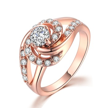 Fashion Rose Gold Diamond Rings For Women  Engagement Party Ring AAA White Zircon Cubic Rings Wedding Bands Jewelry Gift