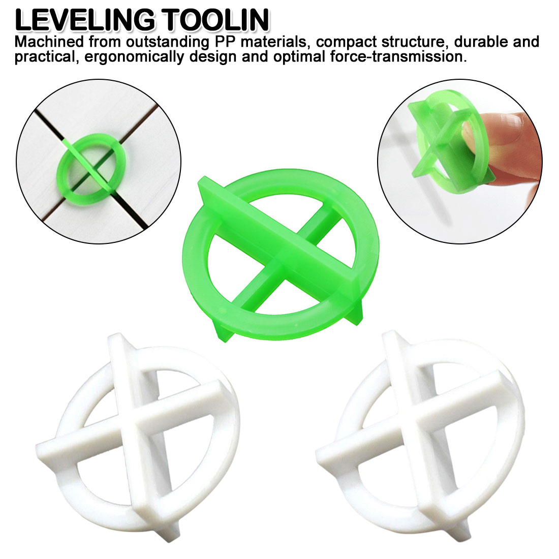 50pcs Plastic Leveling Spacer Base Tile System Leveling Green White Cross Tile Recyclable 1.5/2.0/3.0mm Cleaning Teeth Tools