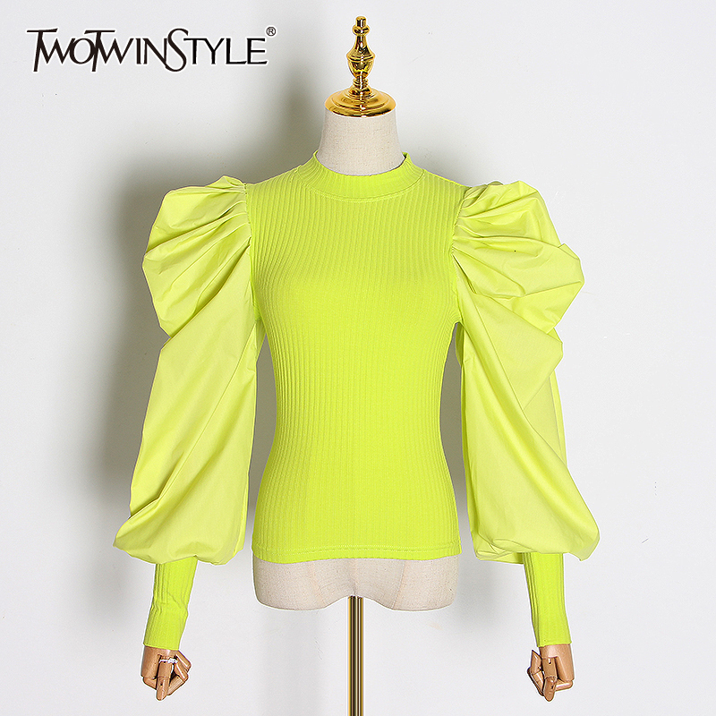 TWOTWINSTYLE Patchwork Knitting Female For Sweater O Neck Puff Long Sleeve Ruched Women's Sweaters Autumn Fashion 2019 Clothing