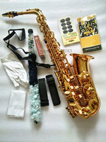 Alto saxophone new high quality instrument Golden alto saxophone model Mouthpiece and case