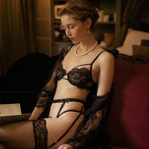 Image 4 - French Erotic Lingerie Lace Bra Panty Garter Set / See through Nightgown Sexy Perspective Dressing Gown Young Women Babydoll