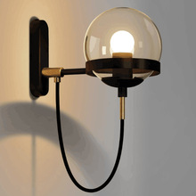 Modern LED E27 Wall Lamp Nordic Bedroom Retro Wandlamp  Glass Ball wall light golden sconce Black wall lighting  Porch Light