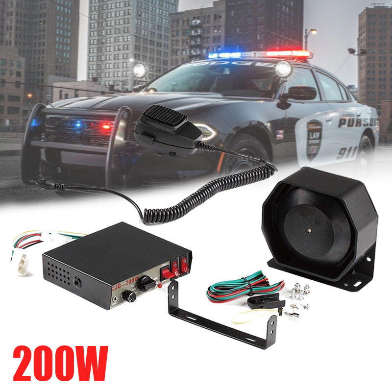 1pc buzinas do carro 200 w pa metal preto alto-falante liso, 12 v megafone alto-falante eletrônico para o caminhão de emergência nos sirene da polícia
