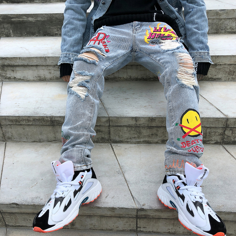 Hole Flame Graffiti Painted Skinny Jeans Ripped For Men Straight Casual Large Size Hip Hop Trousers Winter Jeans Pants