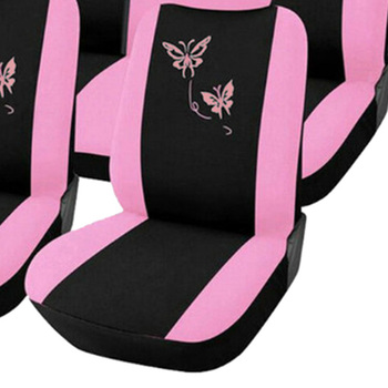 Purple Seat Covers | DJSona Universal Fashion Styling Full Set Butterfly Car Seat Protector Auto Interior Accessories Automotive Purple/Pink Car Seat