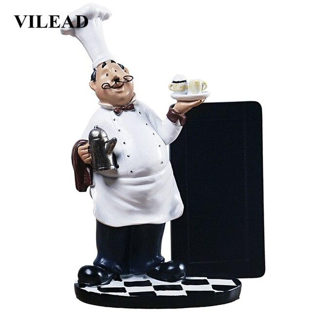 VILEAD 24 سنتيمتر الراتنج الشارب الشيف رسالة مجلس التماثيل الإبداعية السبورة الصغيرة الحلي ديكور Hogar مطعم هدايا