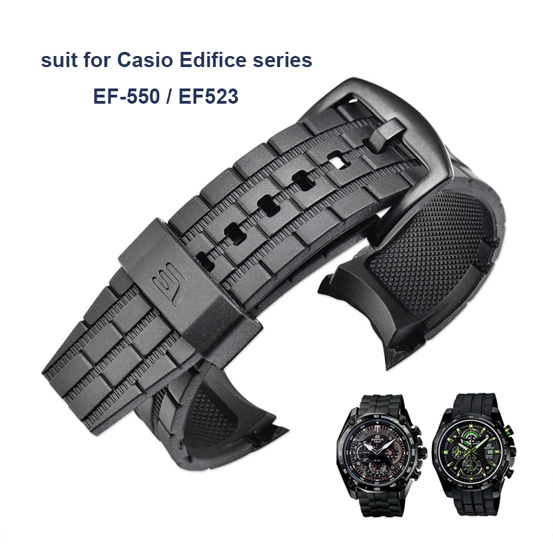 Watch Band Suit for Casio Edifice Series Watch Strap EF-550 / EF523 Rubber Resin Strap Watch