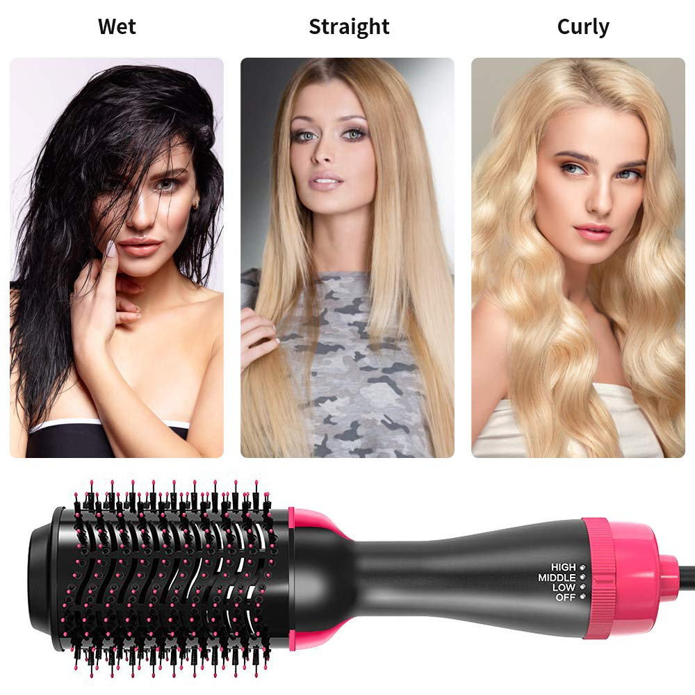 Multi-functional 3 In 1 Hair Dryer Volumizer Rotating Hair Brush Roller Rotate Styler Comb Styling Straightener Curling Gift