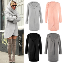 Hot Women Autumn Winter Woolen Hooded Thin Coat Loose Ladies Casual Hoodies Jacket Overcoat CGU 88