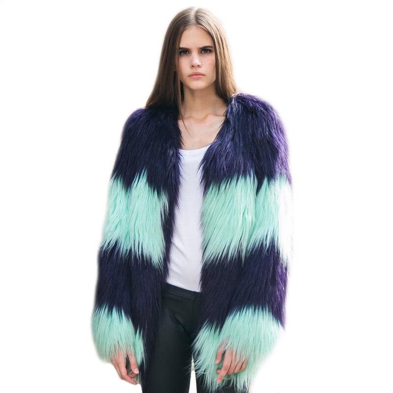 2019 Baru Kedatangan Fashion wanita Warna Bertahap Mantel Bulu Musim - Pakaian Wanita - Foto 1