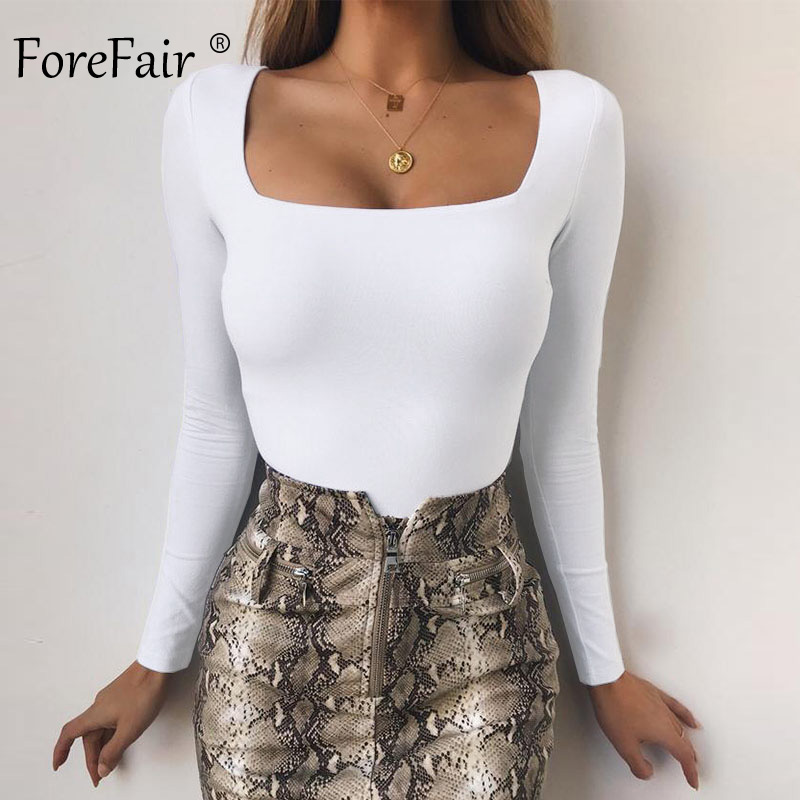 Forefair Long Sleeve Bodysuit For Women Black Spring New Square Neck Skinny Sexy Bodycon Bodysuit Women
