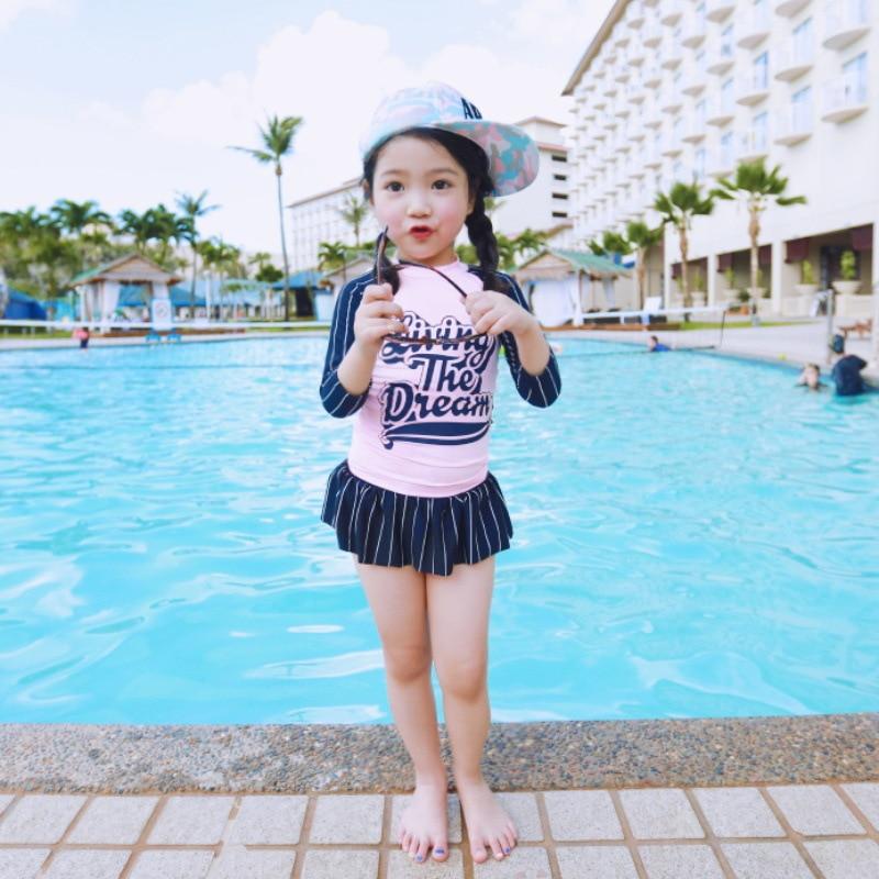 KID'S Swimwear GIRL'S Baby Cute South Korea Princess Sun-resistant Quick-Dry Girls Split Skirt Long Sleeve Hot Springs Swimwear