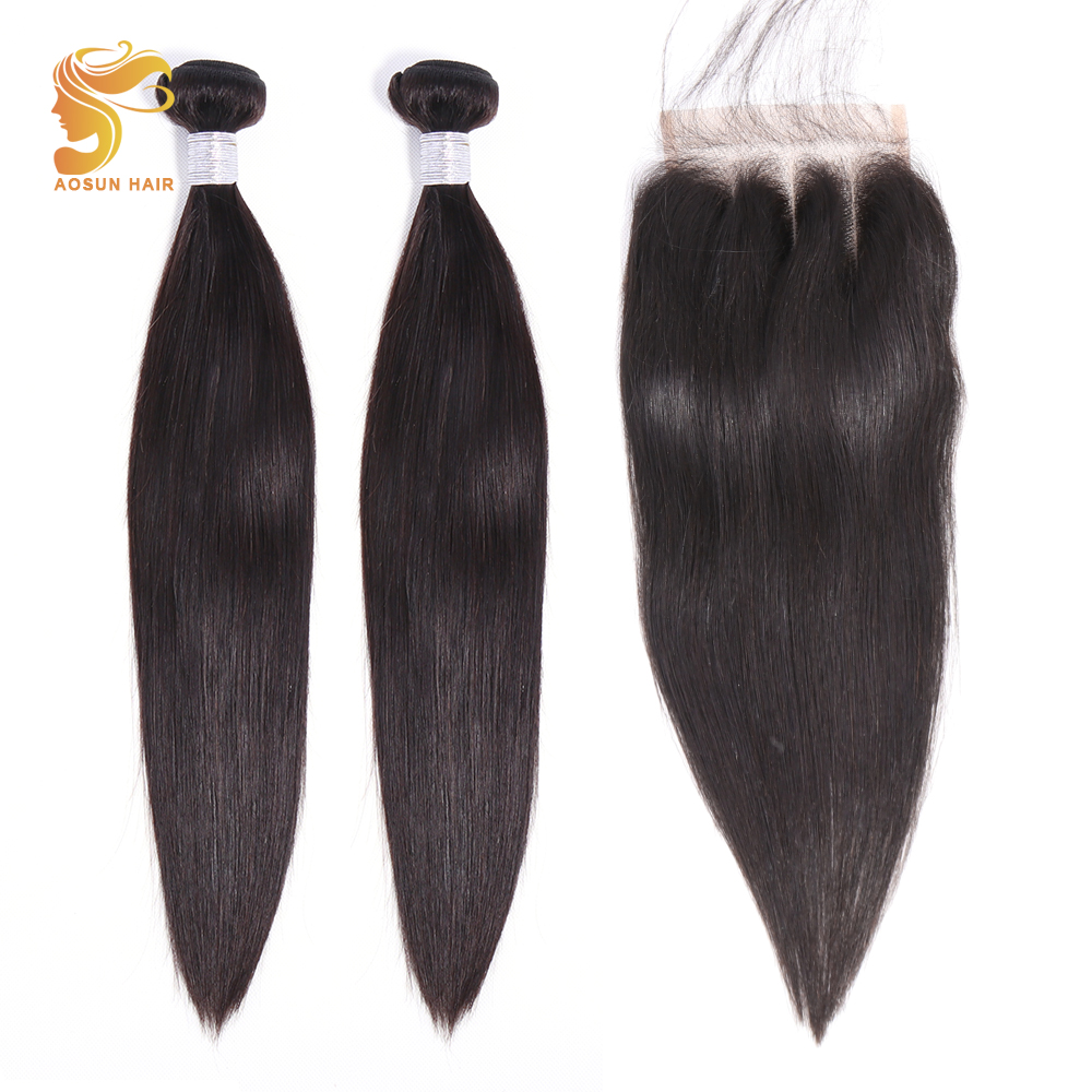 AOSUN HAIR Peruvian Hair Weave Bundles Straight Bundles With Closure 100% Human Hair Extensions 8-26inch Natural Color Remy Hair