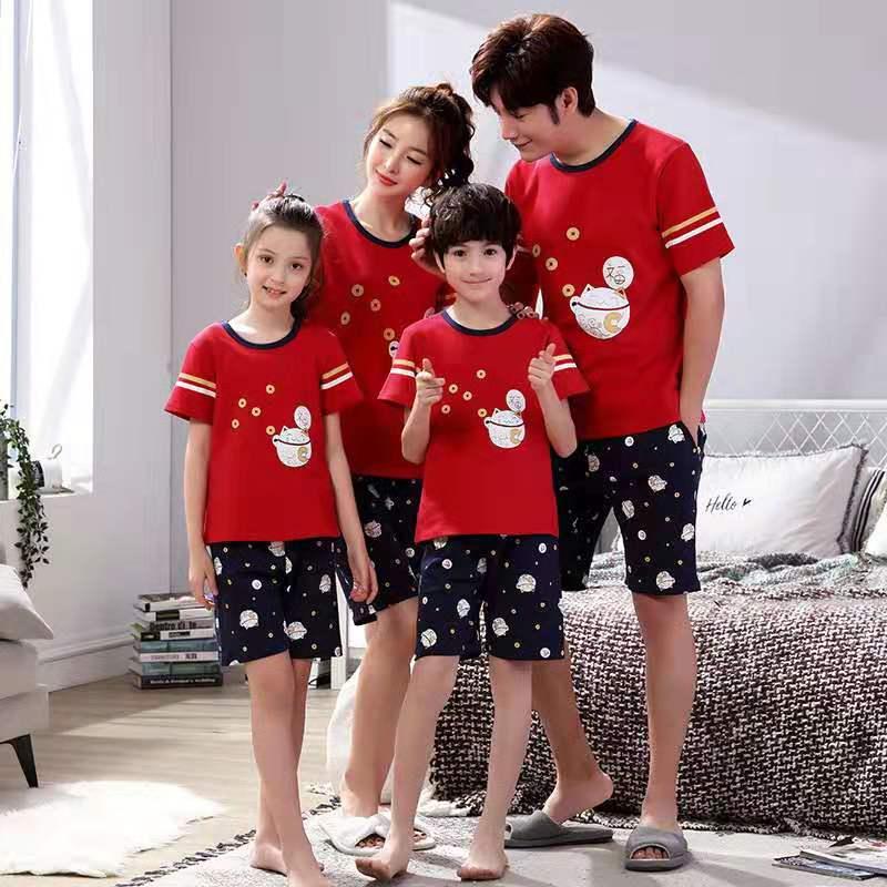 Le plus récent Coton Eté Lots de Vêtements Pour Famille Maman Papa Enfant Bébé Ensembles de Vêtements de Famille t-shirt + Short 2 pièces Parent Enfant Tenues