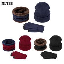 Hat Scarf Beanies Women Warm Winter Thick Ring Solid MLTBB Gloves-Set Outdoor-Hat Knitted