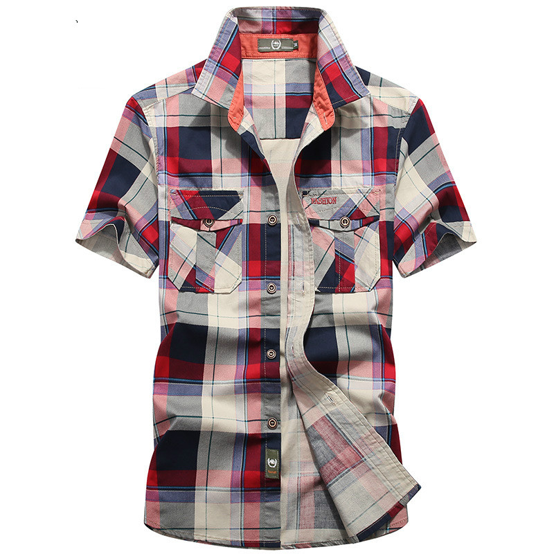 Brand Clothing Plaid Shirt Men Summer Casual Short Sleeve Cotton Breathable Men shirt Camisa masculina Chemise Homme