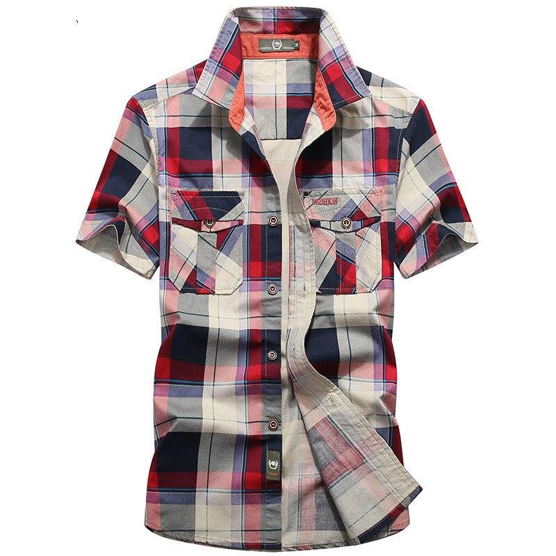 ブランド服のチェック柄シャツ男性の夏のカジュアル半袖コットン通気性の男性シャツカミーサ masculina シュミーズオム