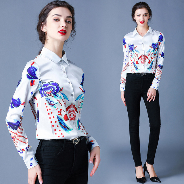 Simgent Floral Blouses Womens Long Sleeve Stripe Flower Printing Turn Down Collar Work Office Tops Woman Shirts Blusas SG911088 2