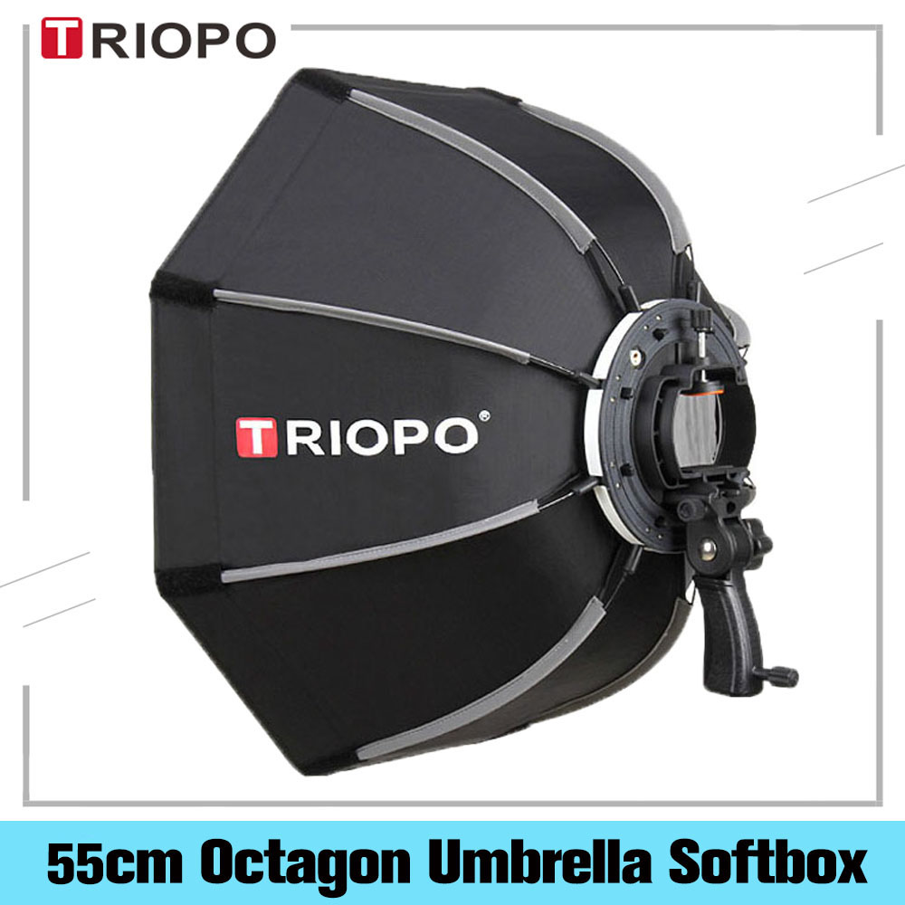 TRIOPO 55cm Foldable Octagon Umbrella Softbox Bracket Mount With Handle For Godox Speedlite Flash Photography Studio Accessories
