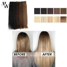 MW Sew In Hair-extensiones de cabello humano de trama, pelo Remy hecho a máquina, paquete recto de doble trama, negro Rubio, 100g/pc, 20