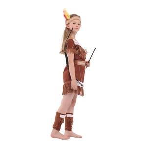 Image 4 - Kind Kinder Indische Prinzessin Kostüm für Mädchen Native Archer Huntress Kostüme Halloween Purim Karneval Party Phantasie Kleid
