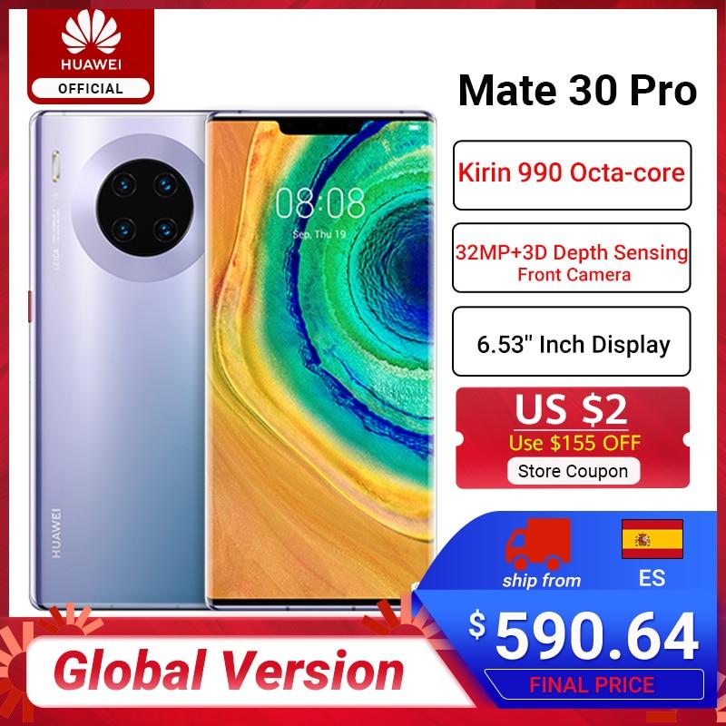 Global Version HUAWEI Mate 30 Pro Mobile Phones Kirin 990 8G 256G 6.53 inch 40MP Triple Cams 4500mAh Smartphone 40W SuperCharge