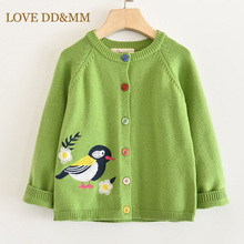 LOVE DD&MM Girls Coat 2020 New Childrens Clothing Girls Cute Bird Soft Long Sleeved Casual Button Knit Cardigan Coat