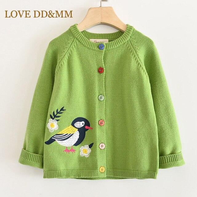 LOVE DD&MM Girls Coat 2020 New Childrens Clothing Girls Cute Bird Soft Long Sleeved Casual Button Knit Cardigan Coat