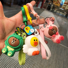 2019 New Cartoon Brown Bear Key Chain Cute Dinosaur Frog Pig Doll Keyrings Kids Toy  for Women bag pendant