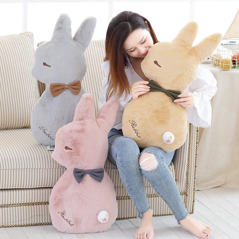 65cm Super Soft Rabbit Plush Pillow Toy Cartoon Animal Three Colors Bunny Stuffed Doll Bed Pillow Cushion Kid Birthday Gift