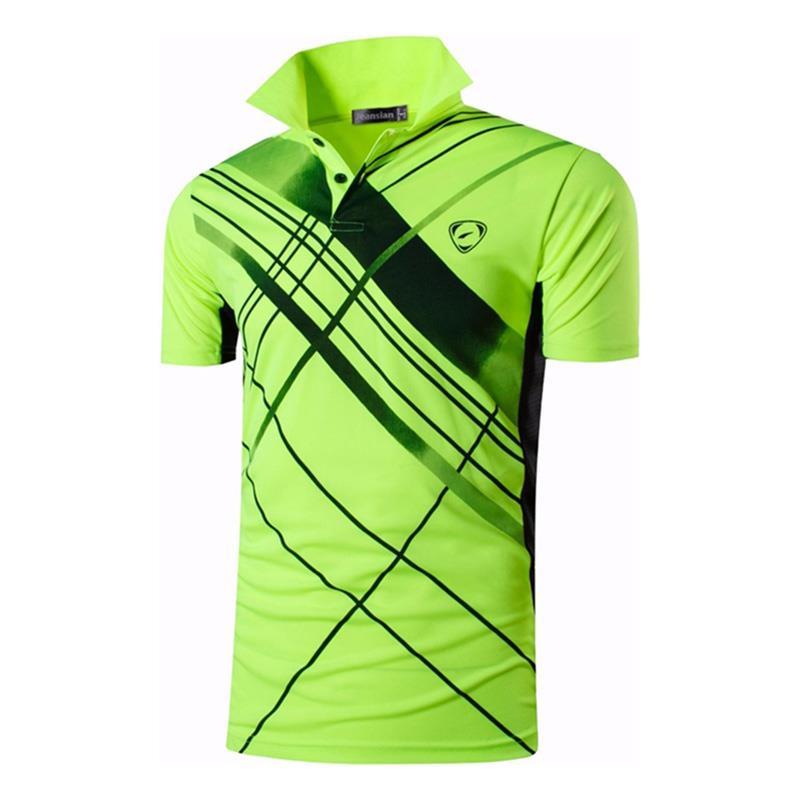 Polos dos Homens do Esporte dos Polos Tênis de Golfe Jeansian Camisa Polo Badminton Seco Ajuste Manga Curta Lsl226 Greenyellow2