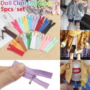 5pcs/set 5*1.7cm Mini Zipper Doll Clothing Zipper DIY Handmade Sewing Scrapbooking Garment Applique DIY Doll Clothes Accessory