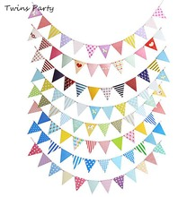 Twins Party Pink Blue Pirate Anchor Banners Garland  Wedding Birthday Baby Showers Party Nursery Marine Pennant Banner lovely cartoon banners clouds and airplanes garland party decorations blue baby showers kids birthday supplies