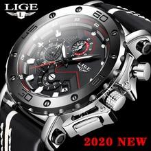 LIGE 2020 Men Watches Top Brand Fashion Black Wrist Watch Mens Luxury Chronograph Business Luminous Date Quartz Male Watches+Box