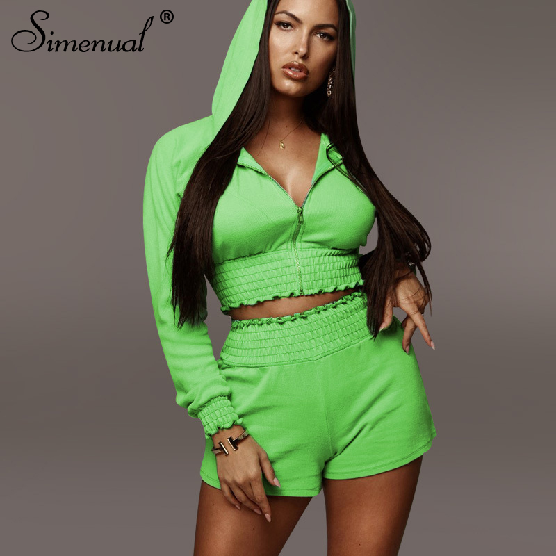 Simenual Casual Sporty Workout Hoooded Two Piece Sets Women Fashion Long Sleeve Ruched Solid Outfits Crop Top And Shorts Set