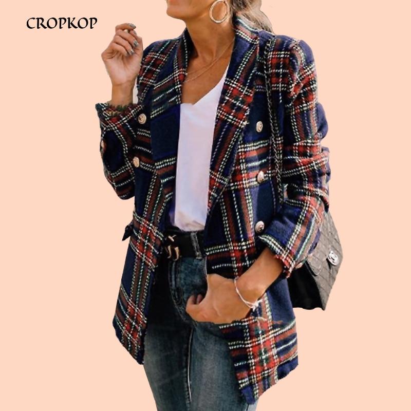 Plaid Cotton Coat Women Autumn 2019 Vintage Turn-down Ladies Coats Casual Loose Winter Long Sleeve Jackets Elegant Tweed Female