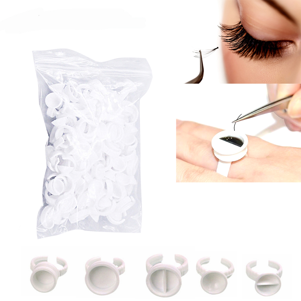100pcs Disposal Tattoo Pigment Holder Ring With Grid Eyelashes Extension Adhesive Glue Holder Palette
