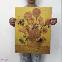 Картина маслом Ван Гога Мона, плакат из крафт-бумаги в стиле ретро, художественный плакат для кафе, гостиной, украшения дома, YH-11-20